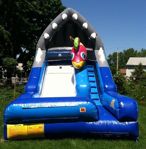 975 image of shark attack water slide rental - Water Slide Bounce House